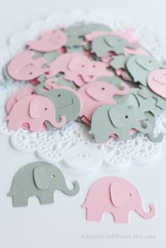 Pink and Gray Elephant Confetty