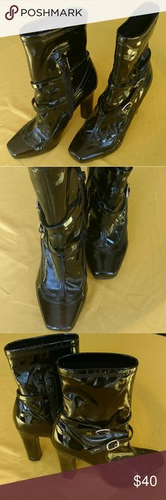 Black Patent BCBGirls Ankle Booties (Size 6) Hardly worn! Excellent condition. Side zip, belted detail. Super cute with skinny ankle length denim. BCBGirls Shoes Ankle Boots & Booties