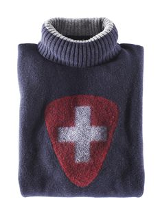 I love this handsome cross sweater. Swiss Flag, Swiss Ski, Urban Fashion, Men's Fashion, International Typographic Style, Ski Sweater, Swiss Design, Men's Style, Dressings