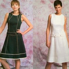 #Vogue DKNY pattern 2783 is for a sleeveless A-line dress. Dress A and B are A-line, below mid-knee, sleeveless with princess seams, front and back yokes, lower band, back zipper and contoured belt with button closures. A: armhole and neck facings on inside. B: contrast armhole and neck facings on outside, contrast piping.
