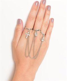 Multi Shape Stone Chain Link Rings
