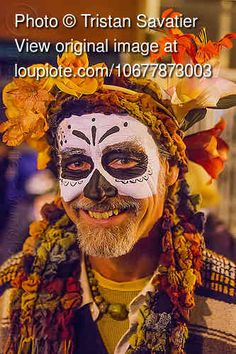 man with skull makeup and flower headdress, beard, day of the dead, dia de los muertos, face painting, facepaint, flowers, halloween, night, sugar skull makeup
