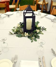 Vintage lantern wedding centerpiece