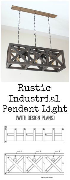 Rustic Industrial Pendant Light - free design plans for this beautiful DIY light fixture!!