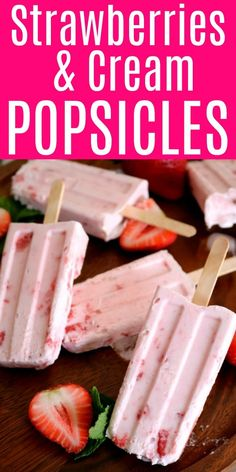 Strawberry Cream Popsicles made with natural ingredients - no fillers or chemicals. Strawberry Cream Popsicles made with natural ingredients - no fillers or chemicals. Home Made Popsicles Healthy, Healthy Popsicle Recipes, Homemade Popsicles, Homemade Ice, Popscicle Recipes, Healthy Recipes, Delicious Recipes, Healthy Foods, Köstliche Desserts