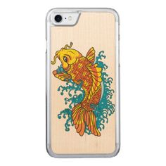 Colorful Goldfish Koi Carved iPhone 8/7 Case - artists unique special customize presents