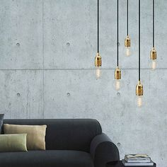 UNO S5 pendant light, gold leaves, black power cord by BULB ATTACK