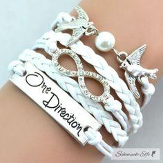 Armband Infinity One Direction Tauben weiß mit...