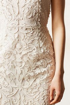 Luxurious Textured Ivory Cocktail Dress - Miriam from Anthropologie