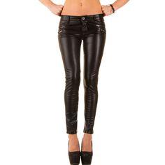 17,99 € - Mozzaar Leder Optik Zipper Skinny Jeans   Ital Design Shop