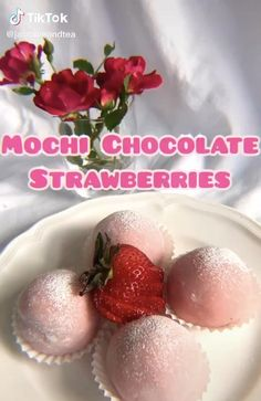 Fun Baking Recipes, Sweet Recipes, Dessert Recipes, Cooking Recipes, Strawberry Recipes, Strawberry Mochi, Aesthetic Food, Food Cravings, Diy Food