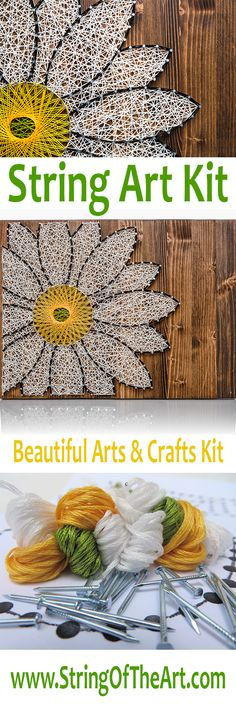 Daisy String Art. This one of a kind and beautiful daisy string art kit is a perfect crafts project to create and hang in one day. The kit comes with the highest quality embroidery floss, metallic wire nails, instructions, pattern template, and a HAND sanded and HAND stained wood board. Visit String of the Art's website for more information by clicking on the picture!