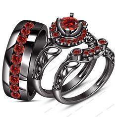 925 Silver Channel Setting Red Garnet Round Unisex Wedding Trio Ring Set 1-1/3CT #aonejewels