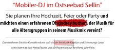 DJ FISCHER SPEZIAL SELLIN RUEGEN  HOCHZEIT GEBURTSTAG FIRMENFEIER WEIHNACHTSFEIER SILBERHOCHZEIT: DJ FISCHER SPEZIAL SELLIN INSEL RUEGEN  HOCHZEIT G...