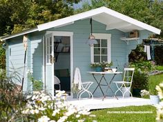 Large pastel garden shed - In Need Of Shed Color Ideas? British bunting on a garden shed. A beautiful shabby chic garden shed. shed design shed diy shed ideas shed organization shed plans Backyard Sheds, Outdoor Sheds, Backyard Landscaping, Garden Sheds, Shabby Chic Interiors, Shabby Chic Cottage, Small Garden Kitchen, Backyard Kitchen, Garden Cottage