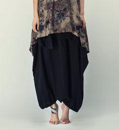 Outline Art to Wear Trend Pants Medium Waist Long Linen Cotton Pants Pleated Harem Pants Elastic Cuff Summer Palazzo Dress Pants