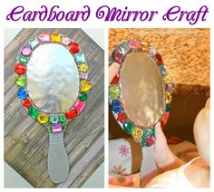 Cardboard Mirror Craft Cardboard jeweled mirror craft for kids - arts & crafts for pretend play - This would be fun for playing Snow White.Cardboard jeweled mirror craft for kids - arts & crafts for pretend play - This would be fun for playing Snow White. Arts And Crafts For Teens, Art And Craft Videos, Arts And Crafts House, Fun Crafts For Kids, Toddler Crafts, Fall Crafts, Fairy Tale Activities, Craft Activities, Preschool Crafts
