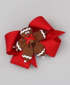 Take a look at this Gingerbread & Red Bow Clip Set by Picture Perfect Hair Bows on #zulily today!