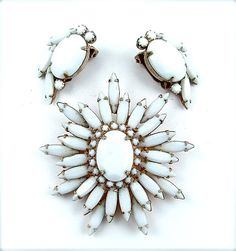 Vintage Jewelry Designer Signed ALICE CAVINESS Star Bridal Jewelry Snow White Milk Glass Jewelry Set Demi Parure on Etsy, $145.00