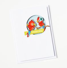 Some Birdie Loves You; A Little Sentimental Scrapbook Cards, Scrapbooking, Mein Hobby, Feather Cards, Bird Cards, Mini Heart, Pretty Cards, Parrots, Clear Stamps