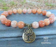 Prosperity Pink Aventurine, healing bracelet, Tree of life, Om bracelet, Yoga Bracelet, Meditation bracelet, Reiki, wrist mala, mala beads