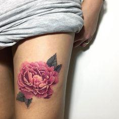 Pink peony tattoo by Nadya Natassya