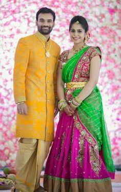 Couple Wedding Dress, Wedding Dresses Men Indian, Indian Bridal Sarees, Indian Bridal Fashion, Wedding Bride, Saree Wedding, Wedding Stuff, Half Saree Designs, Lehenga Designs