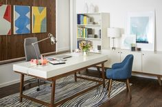 New West Elm Office Furniture Line Gives You Midcentury Style (But Sadly, Not Midcentury Benefits, Space or Job Security) - Office Space - Curbed National Modern Office Decor, Home Office Decor, Modern Interior Design, Office Furniture Design, Home Office Design, Office Inspiration, Office Ideas, Modern Executive Desk, Executive Office