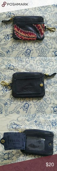 Fossil Feather Wallet EUC. Navy Leather with Boho Feather embroidery on front. Clasp to hook in purse. Main compartment has slot for ID placement so you can see it through back window. Fossil Bags Wallets