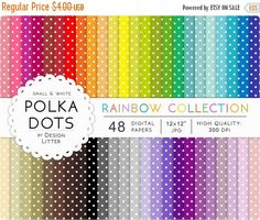 Until New Year - SALE Polka dots digital papers · 48 rainbow polka dots fun and bright small and white for scrapbooking printable · Inst Polka Dot Party, Polka Dots, Digital Scrapbooking, Digital Papers, New Years Sales, Vintage Flowers, Paper Design, Scrapbook Paper, Rainbow
