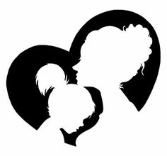 Nursery Art for Babies Developing Sight - Mother Daughter Heart - Silhouette Painting Pencil Art Drawings, Art Drawings Sketches, Easy Drawings, Mother And Daughter Drawing, Mother And Child, Mom Daughter, Mother's Day Clip Art, Clip Art Pictures, Silhouette Painting