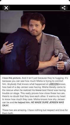 I ship the shit out of Destiel, but people need to get off Jensen's back. Seriously though, this bond that Misha and Jensen share is pretty damn profound on its own. Jensen Ackles, Jensen And Misha, Misha Collins, Dean Winchester, Winchester Brothers, Jared Padalecki, Supernatural Destiel, Fandoms, Film Serie