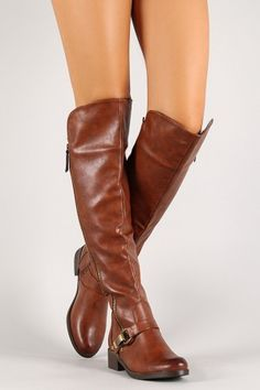 Metallic Plate Buckle Knee High Riding Boot