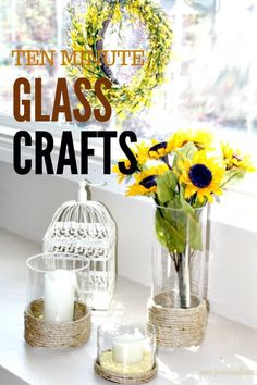 Check out what you can make in 10 minutes. An old glass vase, or a dollar store vase and some rope is all you need for some new Farmhouse decor. #diyfarmhouse #dollarstore decor #budgetfarmhouse Easy Diy Crafts, Diy Crafts To Sell, Handmade Crafts, Home Crafts, Crafts For Kids, Kids Diy, Decor Crafts, Diy House Projects, Diy Craft Projects