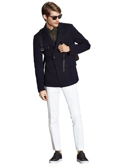Today's Look: Double Breasted Blazer. Photo: Hugo Boss. #ootd #menswear #mensfashion #mensstyle #instafashion #doublebreastedblazer #backpack #blazer