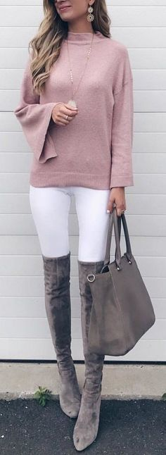 #fall #outfits / pink knit + OTK boots