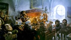 An Unexpected Party By John Howe Site with recipies for various dishes Bilbo may have served Gandalf and the dwarves Gandalf, Legolas Y Gimli, Jrr Tolkien, Tolkien Books, Fantasy World, Fantasy Art, High Fantasy, John Howe, Hobbit Party