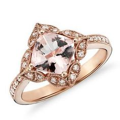 Vintage Morganite and Diamond Engagement Ring from Blue Nile, $750. Wow, different. I like it