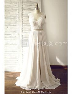 A-line Wedding Dress - Chic & Modern Wedding Dresses in Color / See-Through Wedding Dresses Court Train V-neck Chiffon / Lace withButton 2016 - $129.99