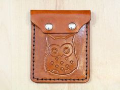 Leather Owl Purse  Hand Carved Leather Coin by TinasLeatherCrafts. Repin To Remember.