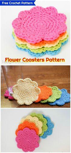 DIY Flower Coasters Pattern-Free Crochet Pattern - 70 Easy Free Crochet Coaster Patterns for Beginners - Page 3 of 14 - DIY & Crafts