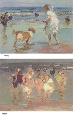 """""""Girl Playing with Dog"""" (recto) and """"Playtime"""" (verso), Edward Henry Potthast, oil on panel, 8.7 x 12"""", private collection."""