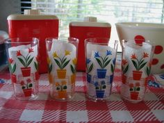 Rare Vintage Art Deco Stepped Flowerpots Glasses 4 Colors, Set of 4
