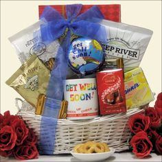 BESTSELLER! To Brighten Your Day: Get Well Gift Basket $42.99 Get Well Gift Baskets, Get Well Gifts, Artisan Food, Brighten Your Day, Food Gifts, Gift Wrapping, Wellness, Gift Boxes, Cute