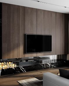 Modern Wall Treatment Apartment Therapy – Wall trim is a robust visible sign, conveying the architectural type of a room … Living Room Tv Unit, Living Room Interior, Home Living Room, Home Room Design, Living Room Designs, Home Interior Design, Modern Apartment Design, Modern House Design, Muebles Living