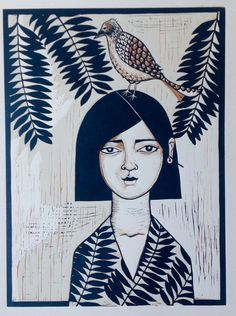 Bird Perch, Linocut by Alison Headley | Artfinder