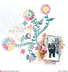 Paige Evans DT Project - NEW Pick-Me-Up collection for Pink Paislee; Folk Art Cut File by Paige Evans available in the Silhouette Store; Shimmerz Paints on background