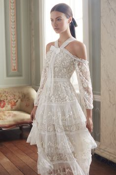 With delicate, embellished gowns featuring soft tiers and embroidered florals, the Pre-Fall collection from Needle & Thread would make the perfect source of gown inspiration for bridesmaids, black tie wedding attendees, and even brides-to-be themselves. Couture Dresses, Bridal Dresses, Wedding Gowns, Fashion Dresses, Prom Dresses, Fall Wedding, Pretty Dresses, Beautiful Dresses, Embellished Gown