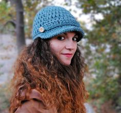 Brimmed beaniehandmade hat womens crochet accessories by Malloo