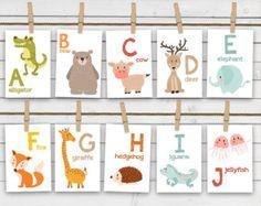 Animal alphabet card set - Alphabet flash cards - Printable - Nursery wall cards - ABC cards - Wall cards - INSTANT DOWNLOAD - Digital